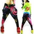 Moda de nueva marca Jazz harén mujeres pantalones de hip hop danza doodle de primavera y verano colores neón patchwork caramelos sueltos pantalones de chándal