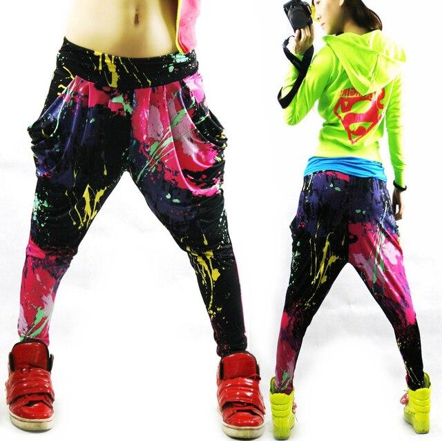 Nuovo modo di marca jazz harem delle donne pantaloni hip hop danza primavera e lestate di doodle neon sciolto patchwork di colori caramella pantaloni della tuta