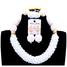 4UJewelry African Beads Jewelry Sets God White Jewellery Sets One Layers Bridal Jewelry Necklace Gift Sets Free Shipping 2018 high accuracy handheld industrial thermometer hygrometer meter tm730 digital wet bulb and dew point humidity tester instrument