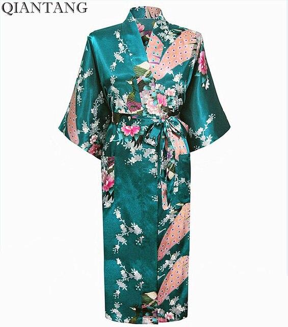791bc18bc1c4 Baru Hijau Tua Faux Sutra Gaun Malam Mujeres Vestido Cina Wanita Kimono  Mandi Jubah Yukata Ukuran