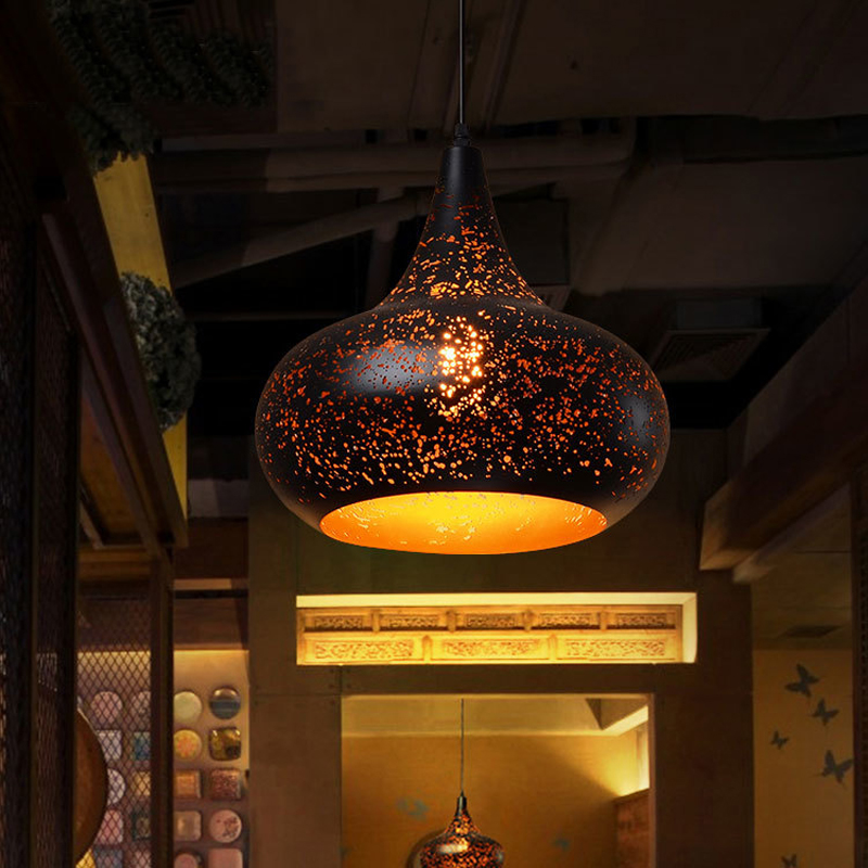 pendant light Villa lighting Nordic loft retro Cafe Bar Lamp Iron restaurant industrial wind rust pendant lamp ZH GY27 restaurant bar cafe pendant lights retro hone lighting lamp industrial wind black cage loft iron lanterns pendant lamps za10