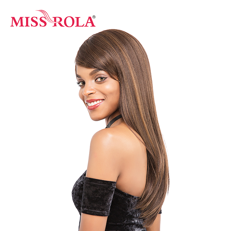 Мисс Рола длинные прямые синтетические парики 18 дюймов Kanekalon Теплоизоляционный слой парики для Для женщин 4/30 # могут быть настроены
