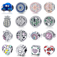 925 Silver Pineapple fit Pandora Bracelet Cactus Tree Butterfly Beads Zircon Lip Heart Candy Sunflower Car Charms for DIY Bangle