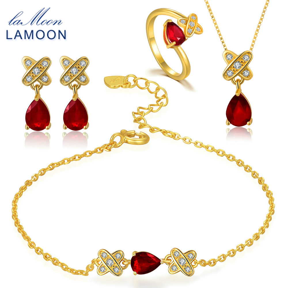LAMOON 2018 New Real 925 Sterling Silver Red Ruby Natural Gemstone 4PCS Jewelry Sets Fine Jewelry