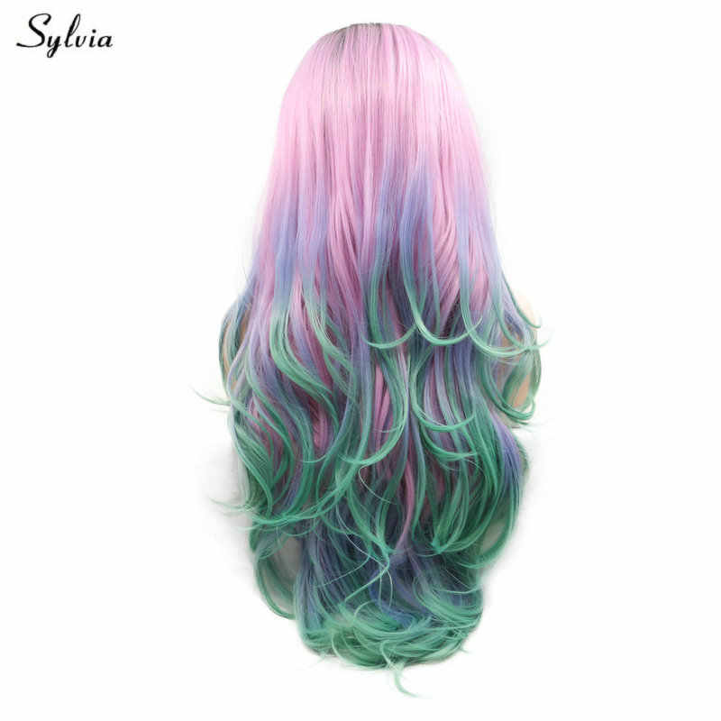 Sylvia Heat Resistant Fiber Colorful Hair Black Ombre Pink/Purple/Green Synthetic Lace Front Wigs For Women Party Long Wavy Hair