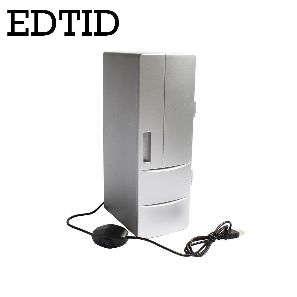 EDTID USB Mini Fridge Cooling Heating refrigerator Small Portable PC Car Laptop Beer Cooler Beverage Drink Cans Freezer Warmer