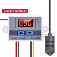 Umidificador digital controle de umidade, controlador de umidade XH-W3005 12v 24v 220v umidificador higrômetro controle de umidade regulador + sensor de umidade