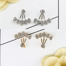 Fashion Jewelry for Women Multi-droplet Stud Earring Gold Silver Crystal Shiny Female Geometric Long Brinco Earing oorbellen