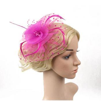 Bridal Fascinator Hair clip Wedding Headpiece Veil Feather Hairpin Rose red Red Purple Black White Beige Navy blue Royal blue headpiece