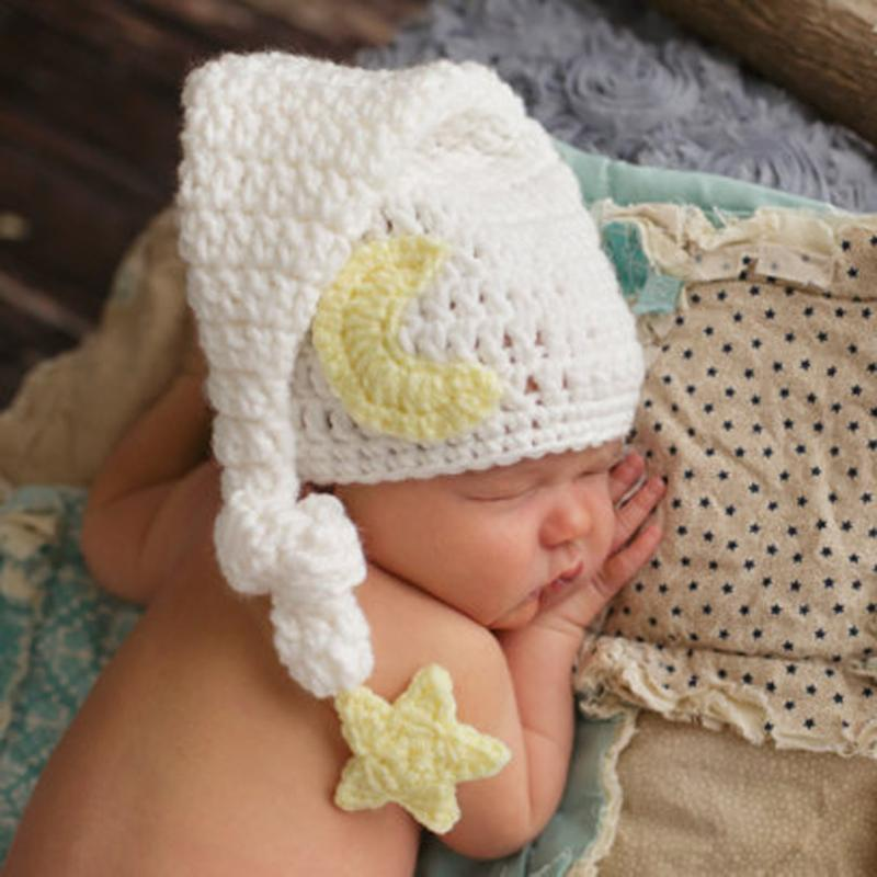 Newborn Baby Girl Boy Handmade Warm Crochet Knited Hat Photography Prop Beanie Cap White Long Tail Hat Caps