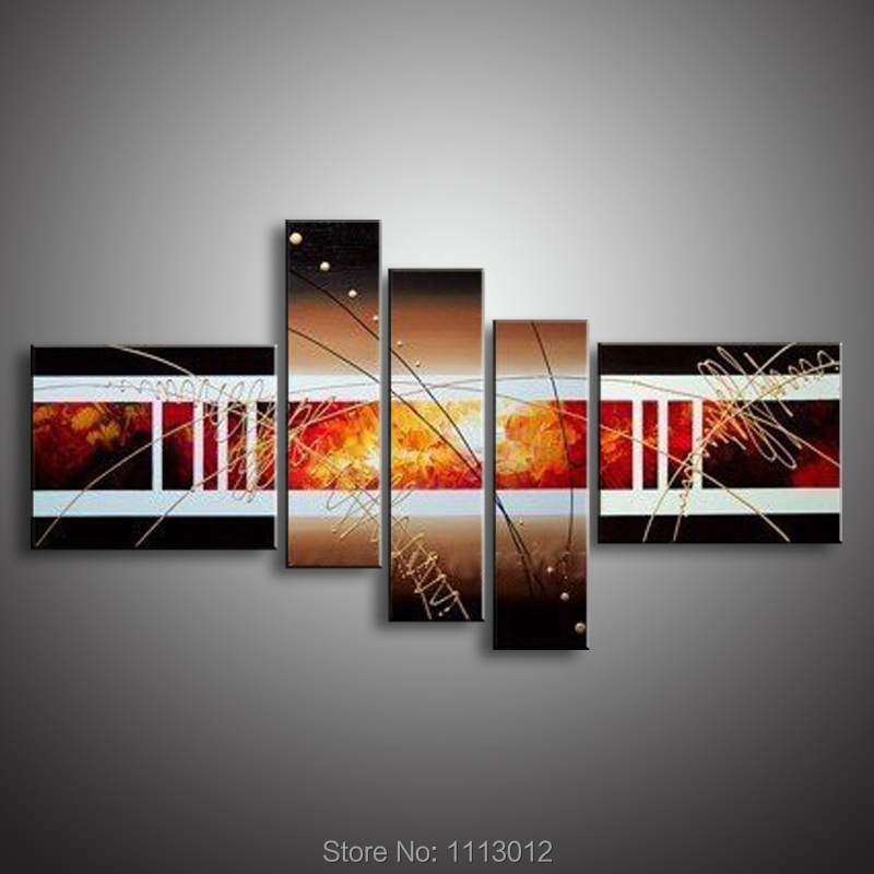 Oil Painting On Canvas 100% High Quality Abstract Line 5 Pcs Set Home Modern Wall Art Picture For Living Room Decoration Sale
