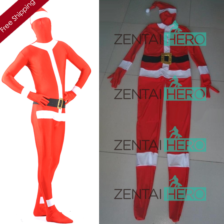 Free Shipping DHL Custom Made Adult Christmas Santa Claus Full Body Red Lycra Spandex Zentai Suit Fancy Funy Zentai Suit S-XXXL