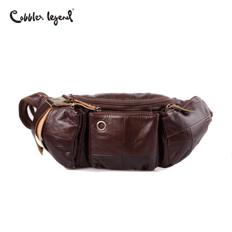 Cobbler Legend Genuine Leather Waist Packs Vintage Pocket Waist Messenger Bag Soft Skin Cowhide Waist Pack
