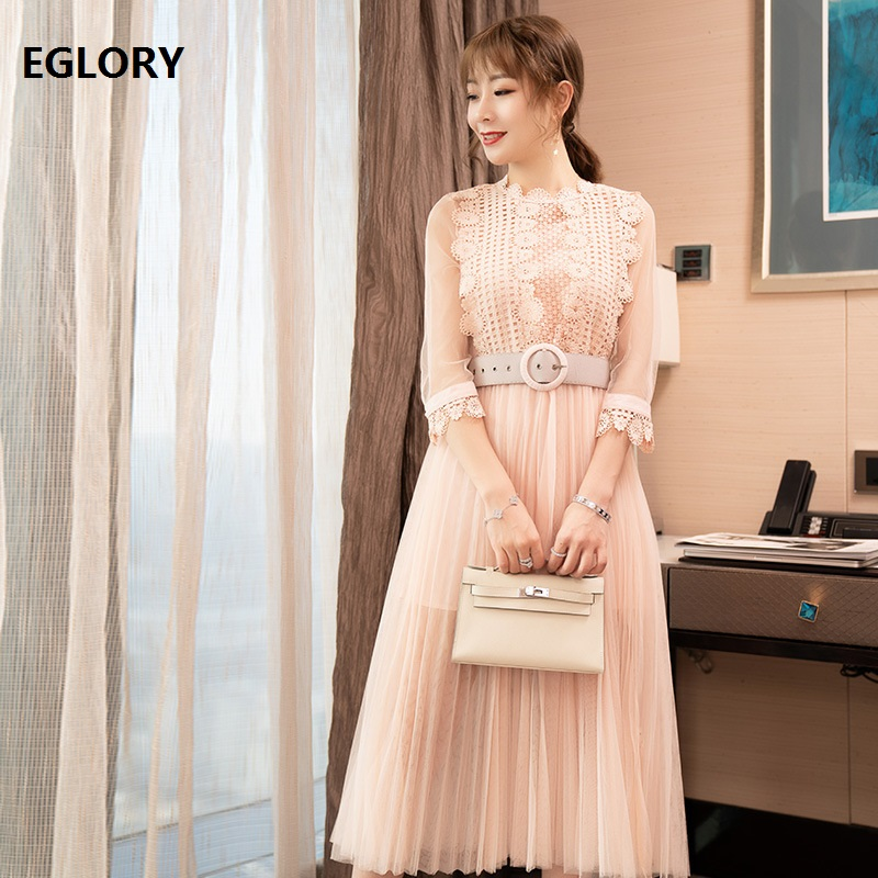 New Arrival Dress 2019 Spring Summer Sweet Party Club Dress Ladies Hollow Out Lace Embroidery Patchwork Large Swing Pink Dress