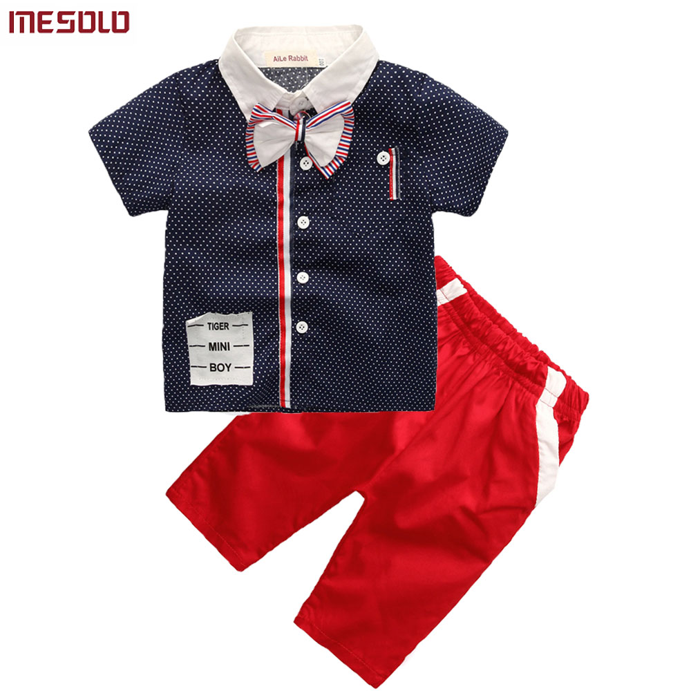 2018 Boy clothing set suits shirt + pants 2pcs set two sets of Gentleman Bow suit boy Kids Short sleeve leisure sports clothes new 2018 spring fashion baby boy clothes gentleman suit short sleeve stitching plaid vest and tie t shirt pants clothing set