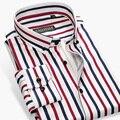 2017 Осень Новый Дизайн Дышащий Хлопок Высокого класса Люксовый Бренд Мужские Рубашки в Полоску Кнопка вниз Slim Fit Бизнес повседневная Мужчины Рубашка