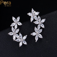 Romantic White Gold Plated Five Petals Flower Shape Cubic Zircon Diamond Women Earrings Jewelry For Valentine