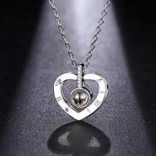 Emmaya – collier avec pendentif en forme de cœur, en or Rose et blanc, 100 langues différentes, pendentif de Projection, amour romantique, souvenir de mariage