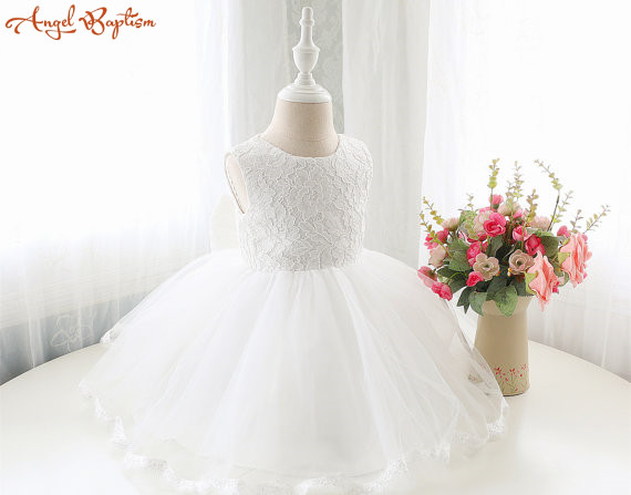 Vintage lace tea-length tulle baby first birthday infant white/ivory christening baptism gown flower girl dress with bonnet smileomg hot sale fashion women crystal stainless steel analog quartz wrist watch bracelet free shipping christmas gift sep 5