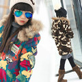 Girl winter color female raccoon fur hoodie cashmere cashmere coat lamb children clothing color bright red jacket of coffee