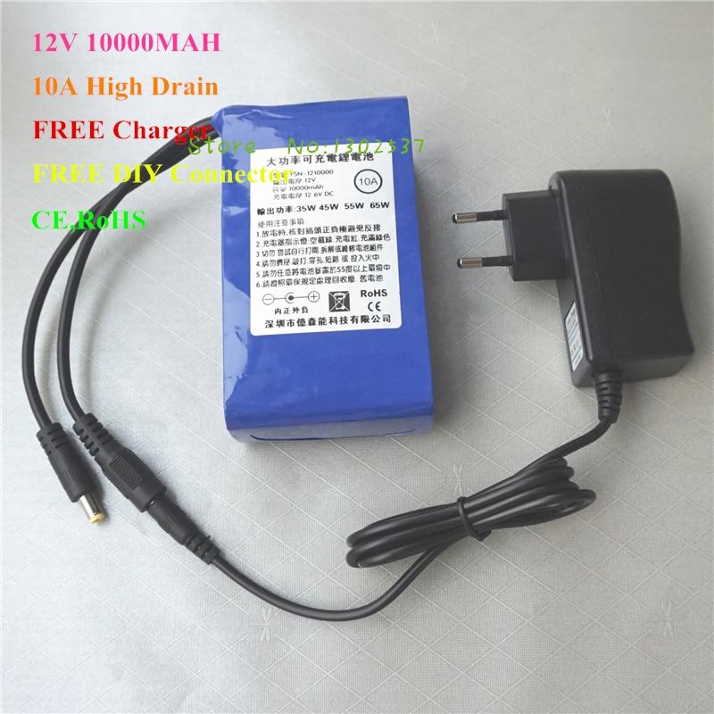 Batteries au lithium Li-ion rechargeables 12 V 10000 MAH 10A pour batterie externe avec chargeur gratuit, convertisseur 5 V USB Buck, connecteur bricolage