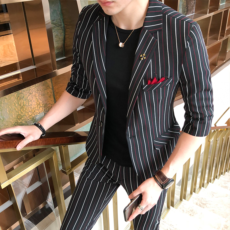 Jacket+Pant Men Suit Fashion 2018 Summer Slim Fit Striped Casual Dress Suits Mens Half Sleeve Business Thin Wedding Tuxedo Mens
