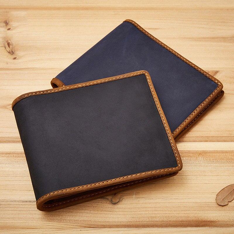 081152f8b7 Νέο πορτοφόλι πορτοφολιών άνδρας από δέρμα αλόγου Vintage γνήσιο ...