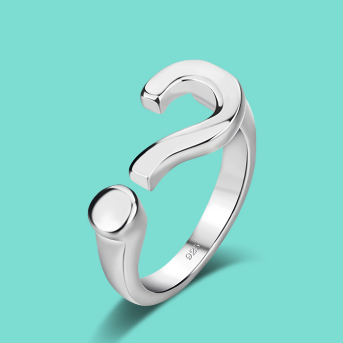 New Women 925 Sterling Silver Ring Simple Style Question mark Design Ring Opening ring Solid Silver Rings Girl Fashion Jewelry