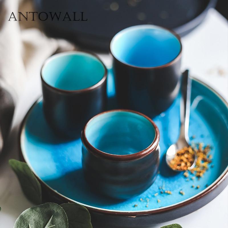 ANTOWALL Ceramic Japanese Ice Cracked Glaze Tableware Tea Set Blue Tea Cup Drinking Hand Cup Retro Straight Body Household Cup