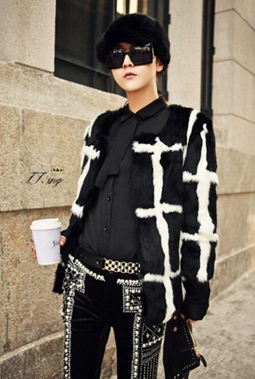 New Genuine Coelho casaco de pele de coelho casaco de pele das mulheres  completa pelt J498 desfile de moda estilo personalizado tamanho grande Frete  Grátis 592abe053aec8