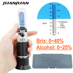 With retial box 0~40% Brix 0~25% Alcohol Refractometer Wort Specific Gravity Refractometer Wine Sugar Test Tool 25% off