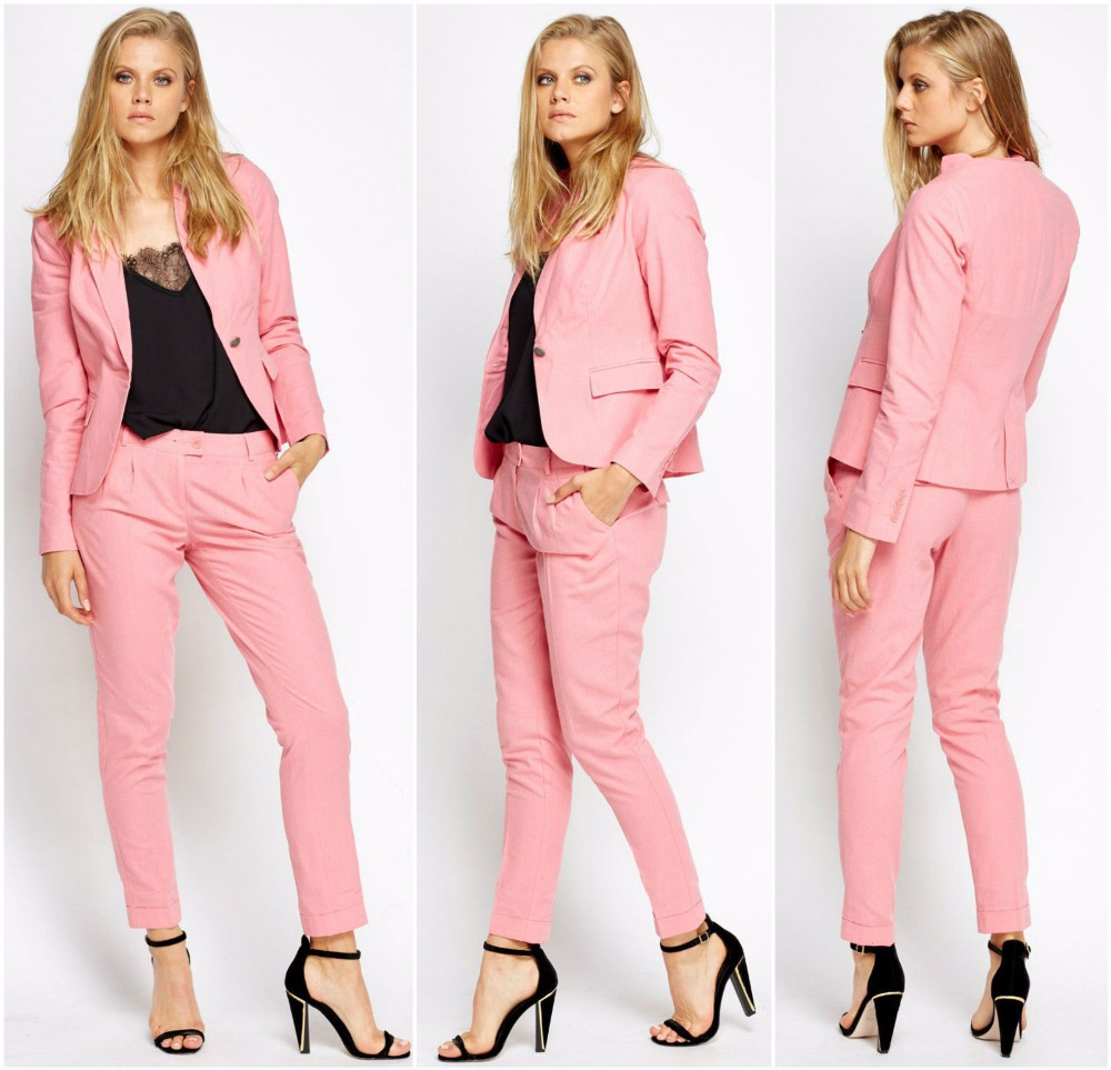 Pink Women Ladies Custom Made Business Office Suits Jacket+Pants Work Wear Suit