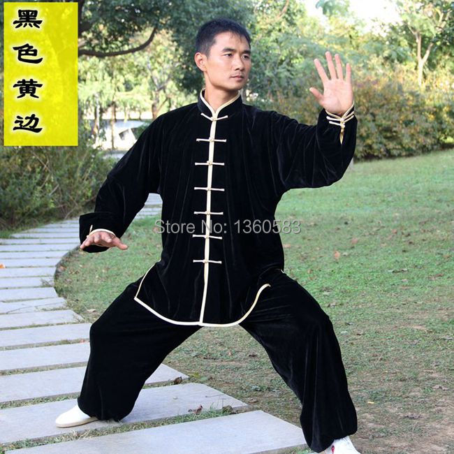 Chinese Pleuche thicken Kung fu Taiji Suit Tai Chi Uniform Martial Arts Performance Clothes Mens Womens Morning Exercise Suits master recommend movement triangle frame wing chun wooden dummy donnie ye used standard kung fu wooden dummy martial arts