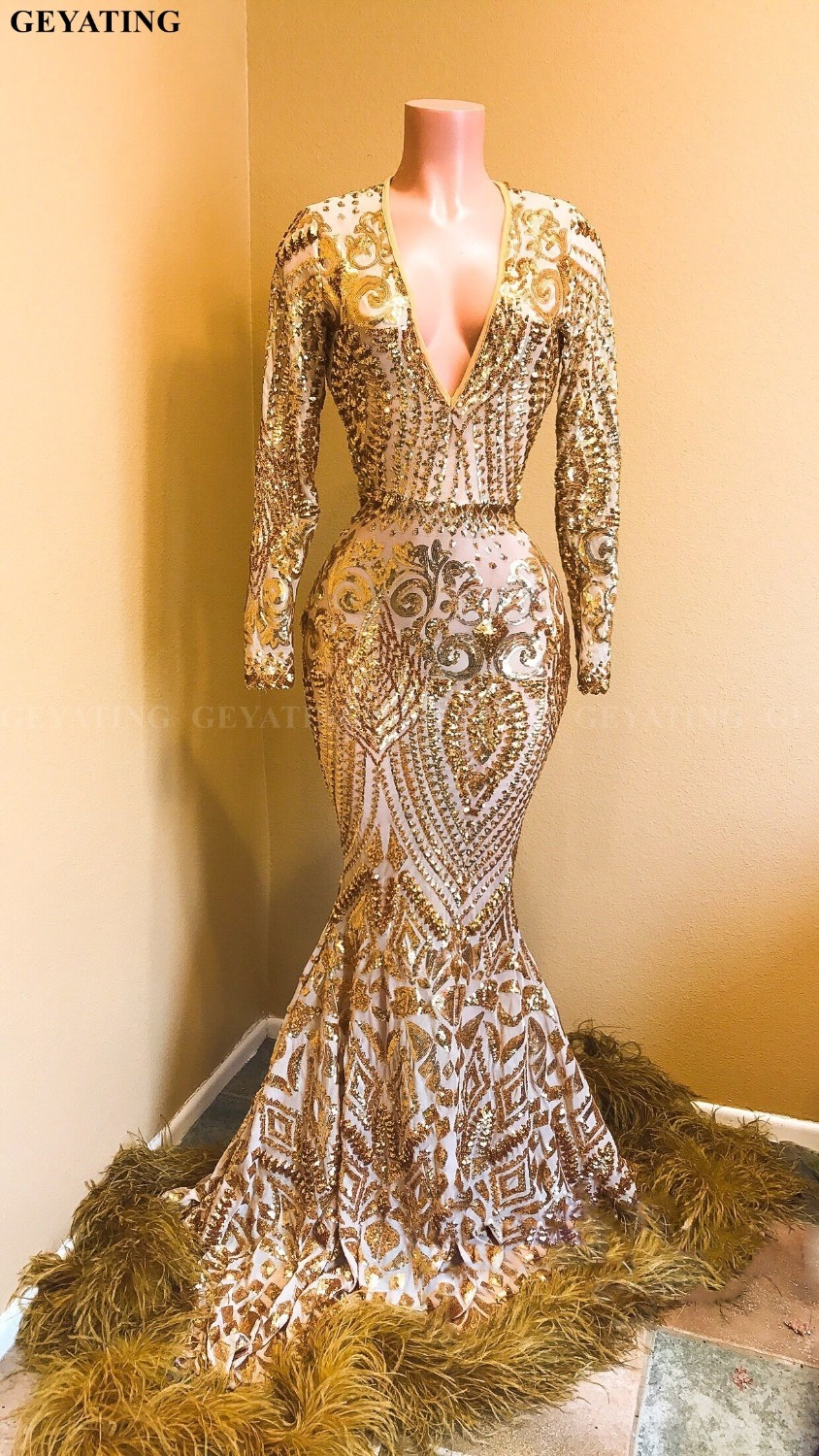 Sparkly Sequin Long Sleeves Mermaid Gold Feather Prom Dresses 2019 Sexy V-Neck African Girl Evening Party Gowns Graduation Dress