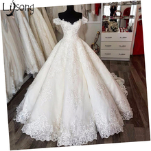 Lisong Saudi Arabic Vintage Wedding Dresses Empire V-neck