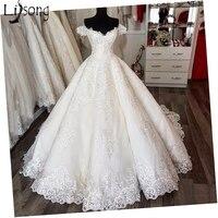 Saudi Arabic Vintage Lace Puffy Wedding Dresses Empire Puffy Bridal Gowns V neck Lace Up Vestido De Noiva Casamento 2018