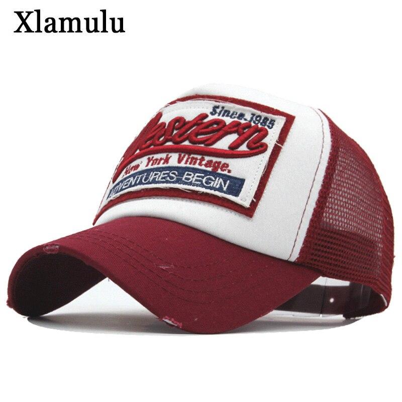 Xlamulu Summer Men Baseball Cap Snapback Embroidery Mesh Hats For Women Caps Casquette Snapback Male Hat Gorras Bone Dad Cap бейсболк мужские