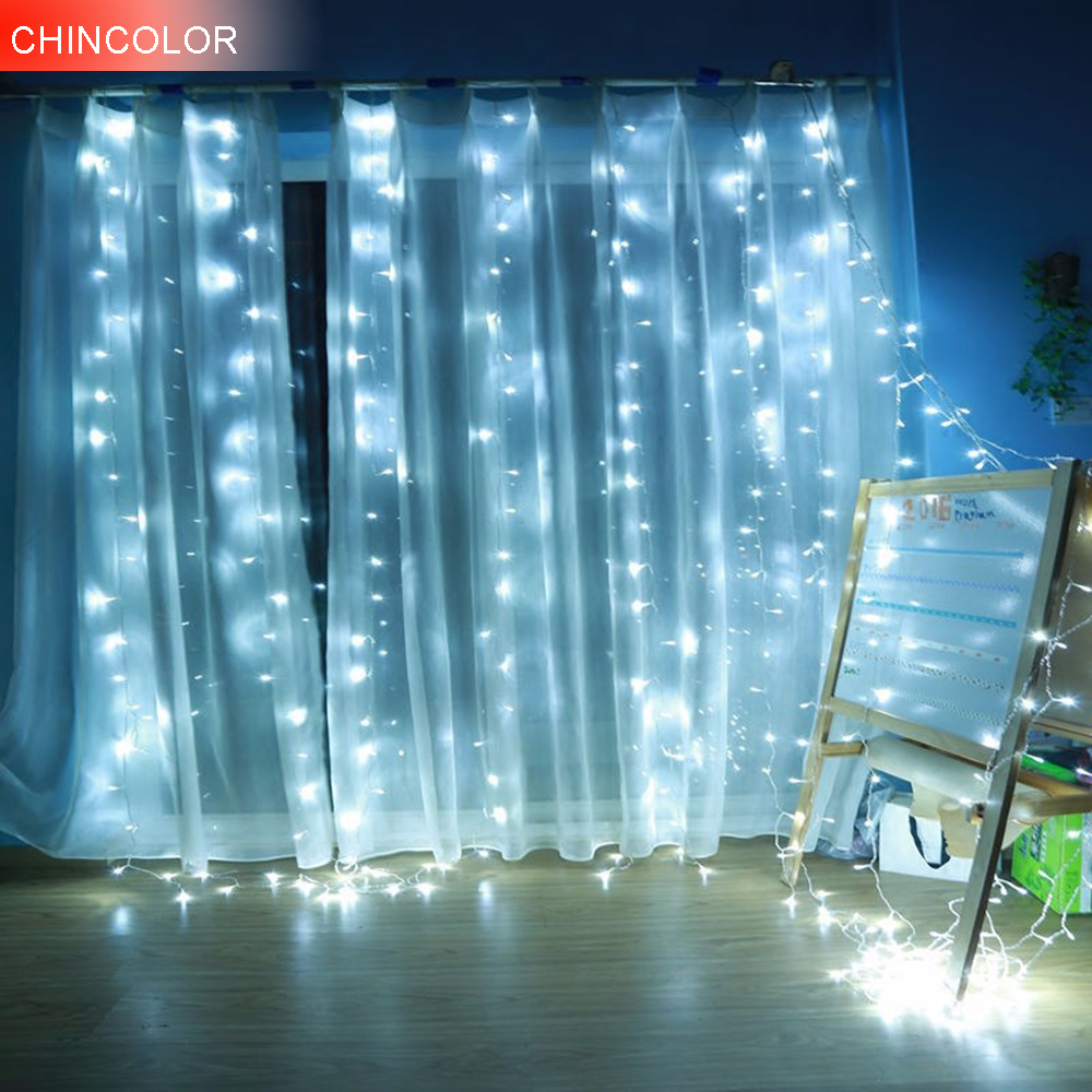 3*2Meter 200leds Holiday Lights Curtain LED Light String EU/US New Year Christmas Garlands Fairy Party Wedding Decorations DA