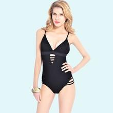 Купить с кэшбэком 2018 Plung V Backless Ribbed Padded One Piece Swimsuit Push Up  Lace Up High Cut  Monokini Women Swimwear String Bathing Suit
