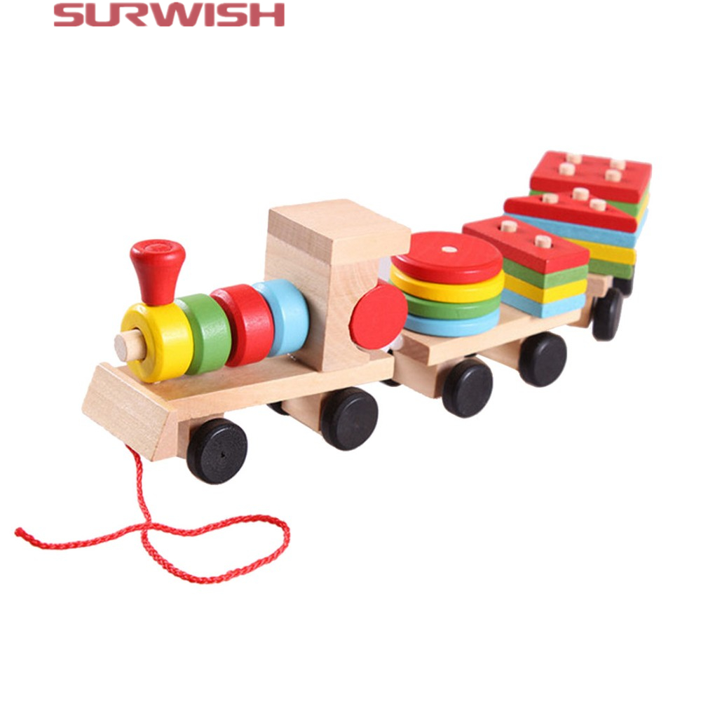 Surwish Hot sale 3 parts Drag Wooden Toys Early Stacking Train For Boys Girls Children Baby Kids Blocks Set Wood Toy Gifts 2017 hot sale forest animals children assembled diy wooden building blocks toys baby toy best gift for children ht2265