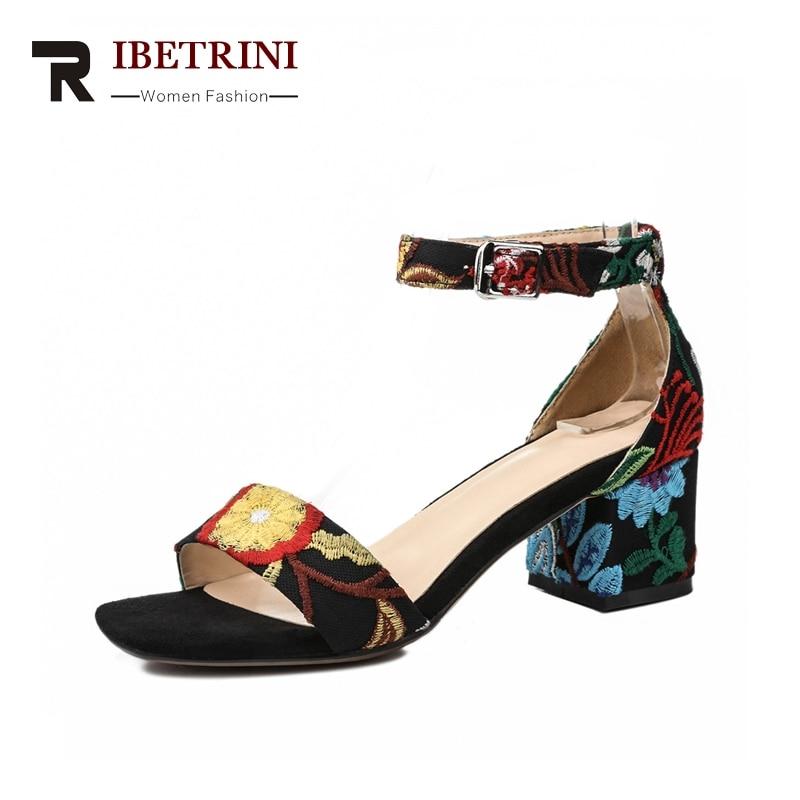 RIBETRINI Correa de tobillo de la Mujer Cuadrada Med Tacones Cubierta - Zapatos de mujer