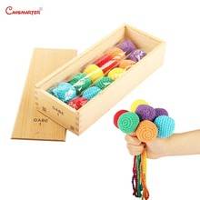 Wooden Toys Frobel GABE Educational Teaching Aids Baby Froebel Color Training GABE1 Games Knitted Balls With Box N001-3