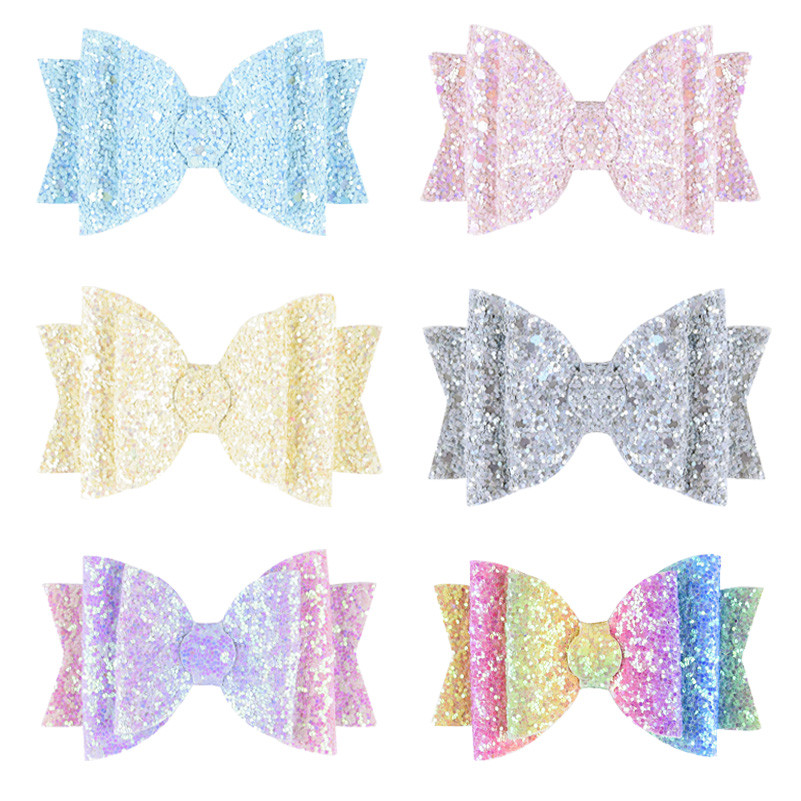 New Fashion Hair Clips For Women Baby Girls 3.5 Inch Glitter Hair Bow Kids Hairpins Barrettes Hair Accessories Toddler Headwear