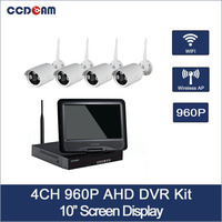 CCDCAM 4CH Wifi NVR Kit 1.0MP Security System 960P Wifi IP Camera w/10 screen NVR