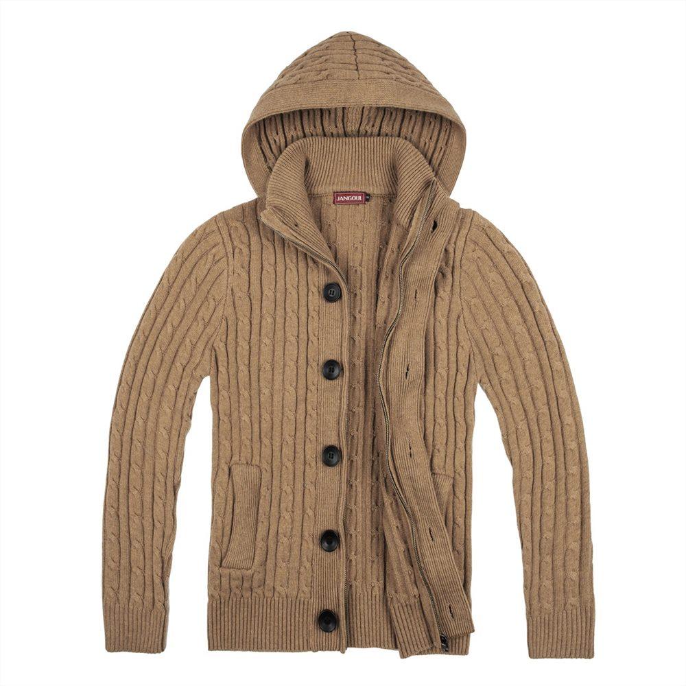 b8aa7973f JANGOUL Wool Blend Tweed Sweater Coat Men Button Front Full Zip ...