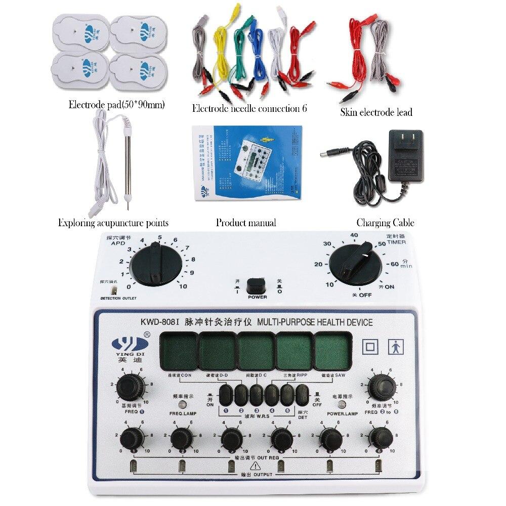 Multifonction 6 Sorties Dizaines Pouls Thérapie D'acupuncture Électrique Masseur Minceur Outil EMS Nerf Stimulateur Musculaire Avec 4 Tampons