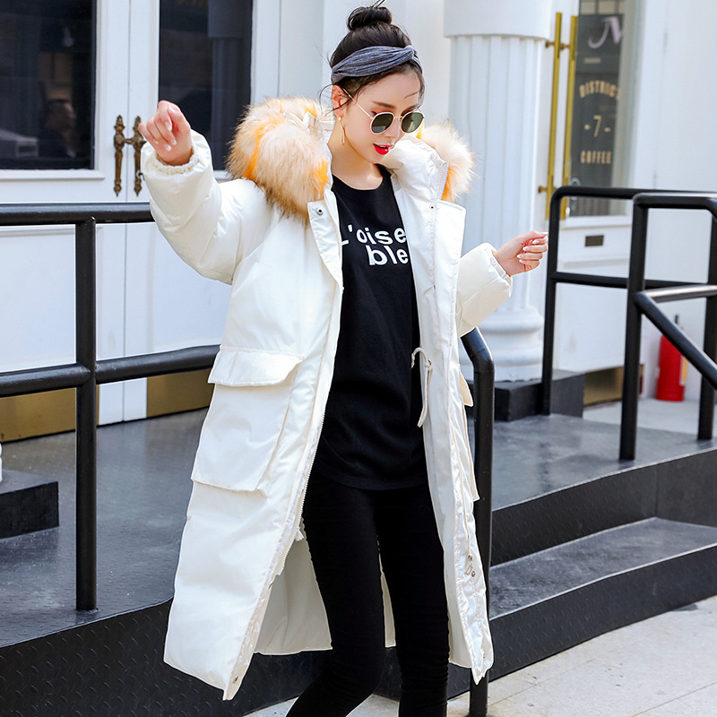 Maternity Women New Moms Winter Solid Fluffy Collar Hooded Down Cotton Mid-long Cardigan Coat Fashion Warm Puffer Outdoor Jacket binyuxd women warm winter jacket 2017 fashion women hooded fur collar down cotton coat solid color slim large size female coat