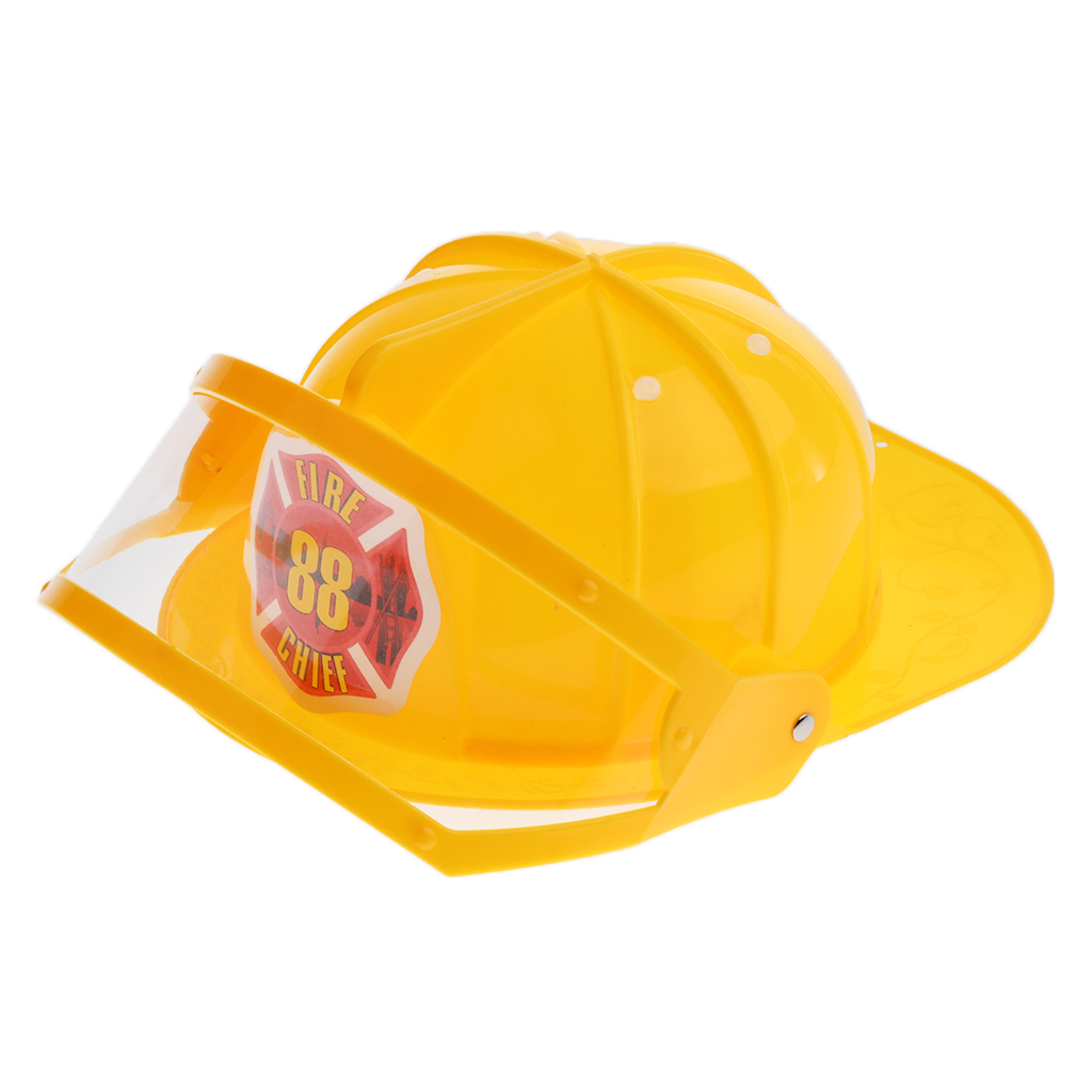 Simulation Role Play Game Toy Gear Fireman Helmet Fire Fighter Hat Kids Cosplay Set Toy - Yellow