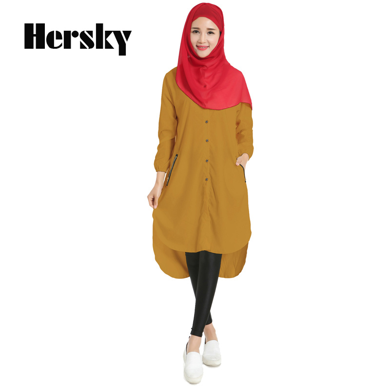 def4f19f53e17 التركية النساء الملابس فتاة المرأة المسلمة طويلة قميص الإسلامية قمم اللباس  الإسلامية رداء Musulmane الملابس دبي قفطان الملابس