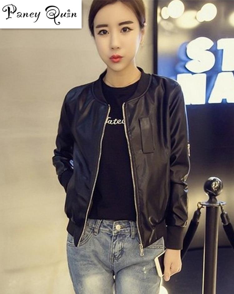 NEW women female   leather   coat jacket women short slim zipper Black Motorcycle   leather   Jackets Women jaqueta de couro feminino